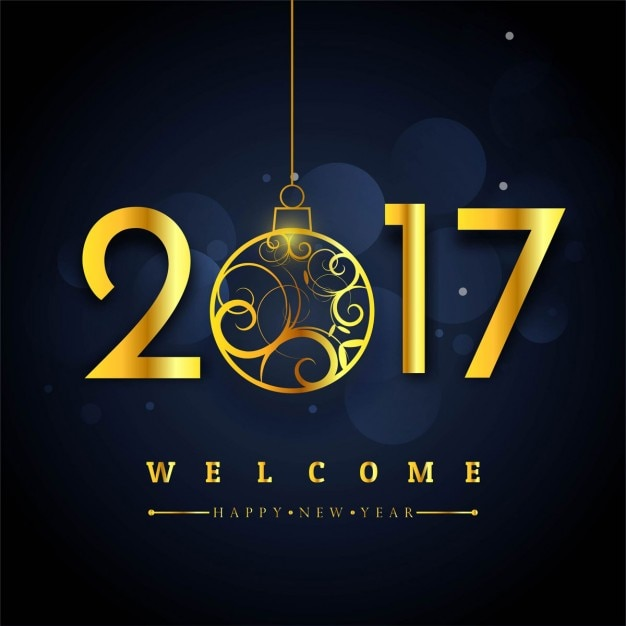 Dark background with golden numbers for new year Free Vector