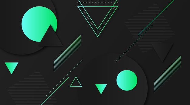 Dark background with gradient green shapes Free Vector