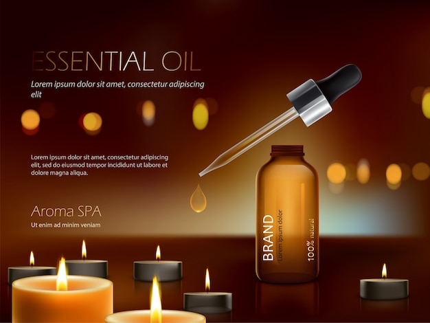 Dark background with nutrient moisturizing cosmetic premium products and burning candles Free Vector