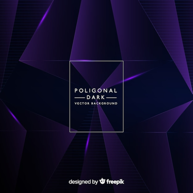 Dark background with polygonal shapes Free Vector