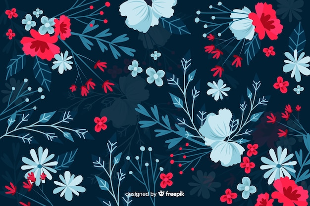 Dark background with red and blue flowers Free Vector