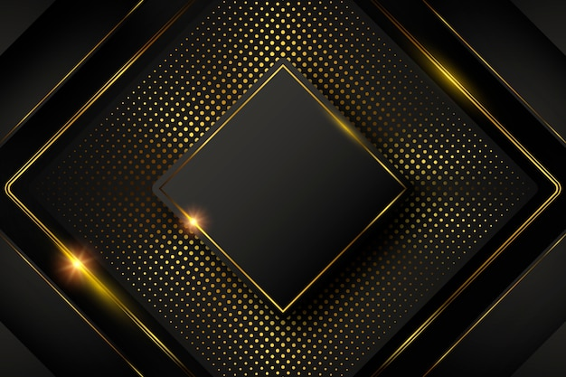 Dark background with shapes and golden elements Free Vector