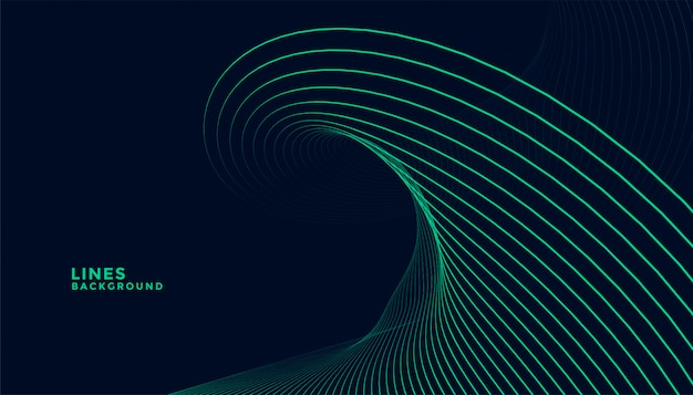 Dark background with turquoise wavy lines design Free Vector
