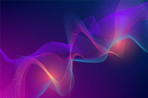 Темный фон с волнистыми формами Бесплатные векторы