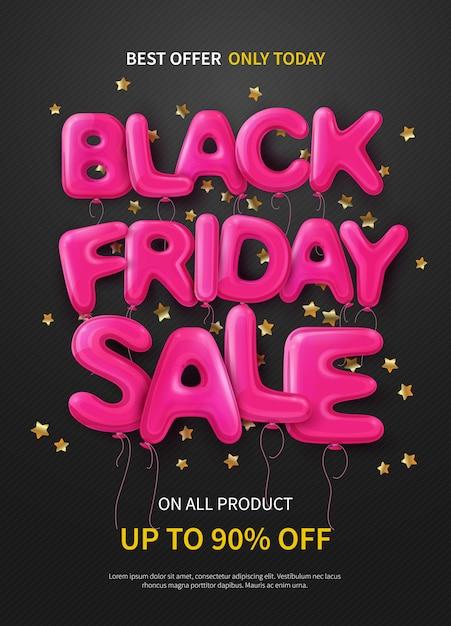 Insegna o manifesto scura con i palloni rosa che formano vendita nera di venerdì del testo Vettore gratuito