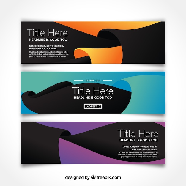 Dark banners of abstract shapes