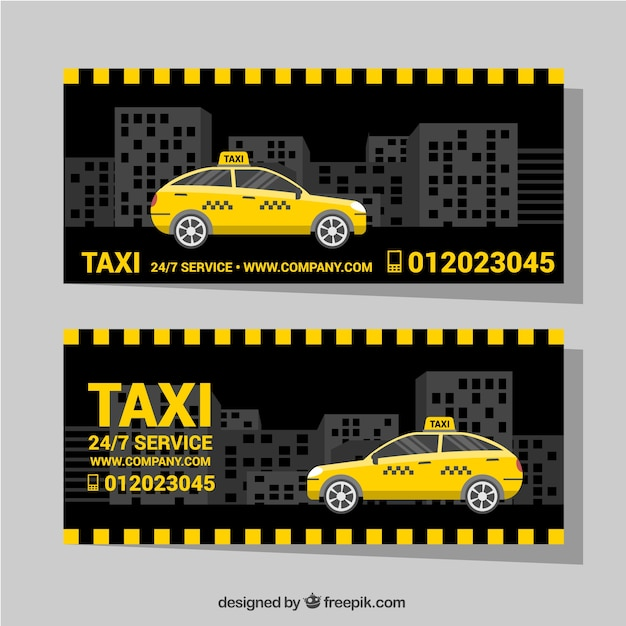 Dark banners with taxi in the city