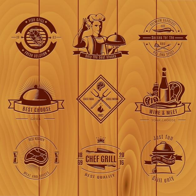 Темный барбекю старинный логотип набор разных размеров и названий Бесплатные векторы