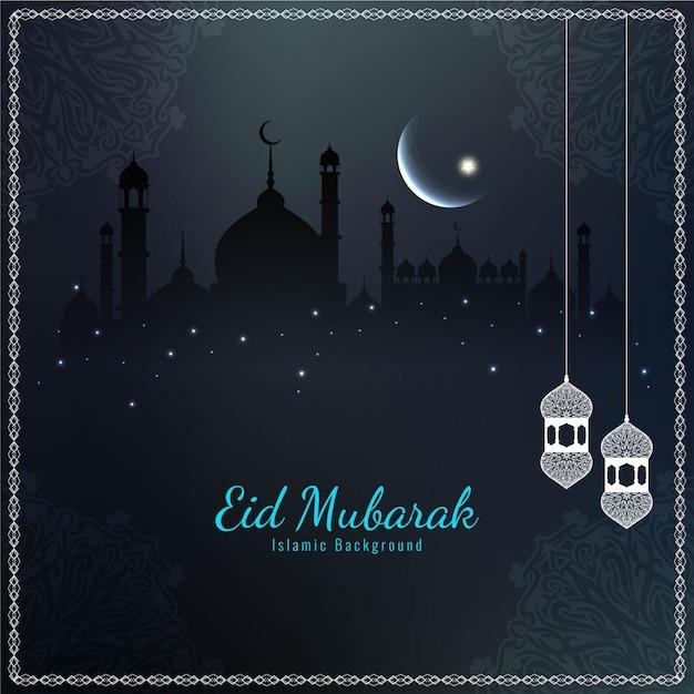 Dark beautiful eid mubarak religious Free Vector