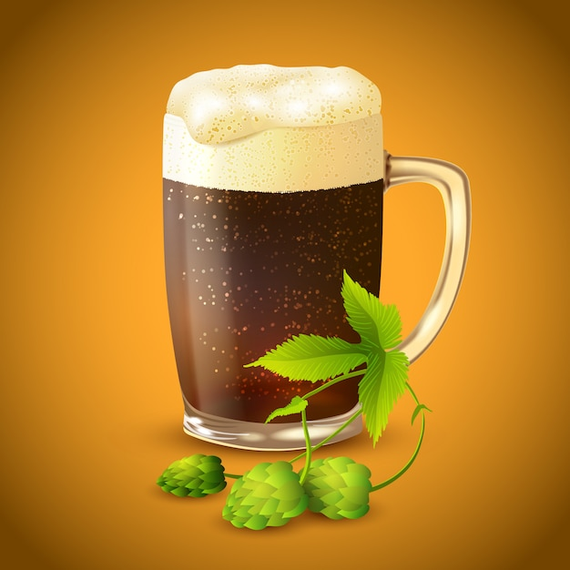 Dark beer and hop background Free Vector