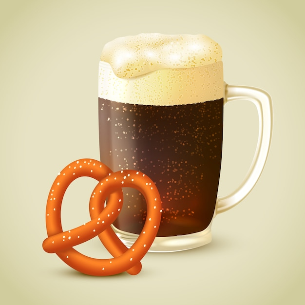 Dark beer and pretzel illustration Free Vector