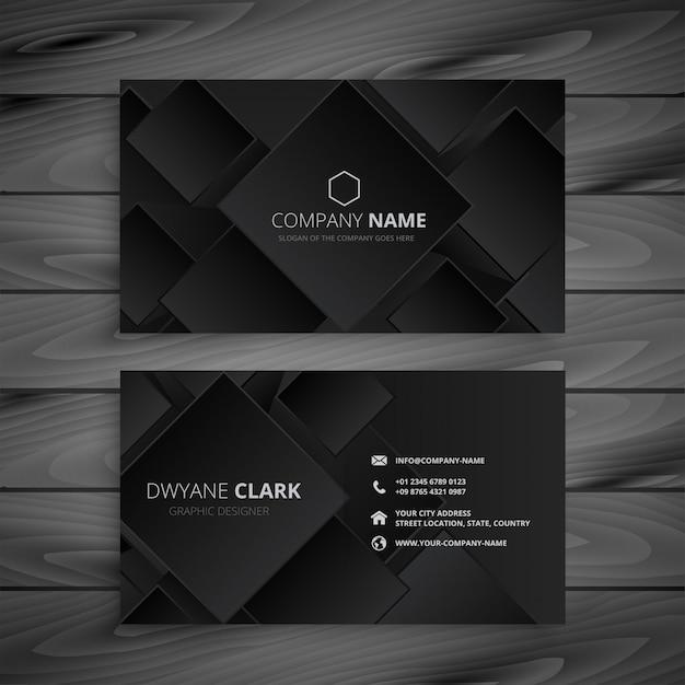 Music Visiting Card: Dark Black Business Card Design Vector