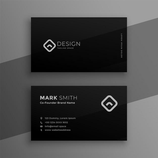 Dark black elegant business card template design Free Vector