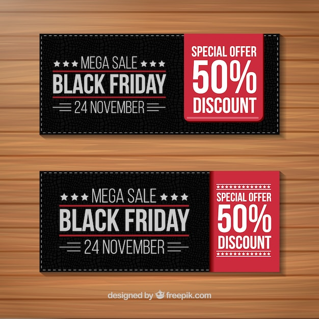 Dark black friday banners Free Vector