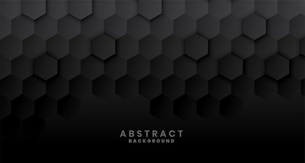 Dark black hexagonal concept design Free Vector