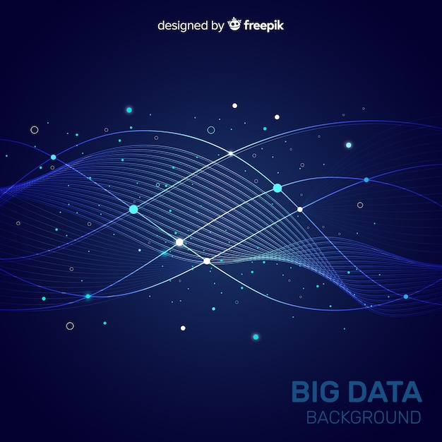 Dark blue abstract and creative big data background Free Vector