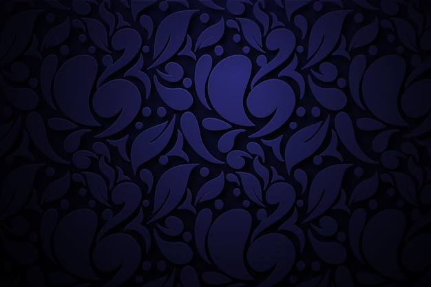 Dark blue abstract ornamental flowers background Free Vector