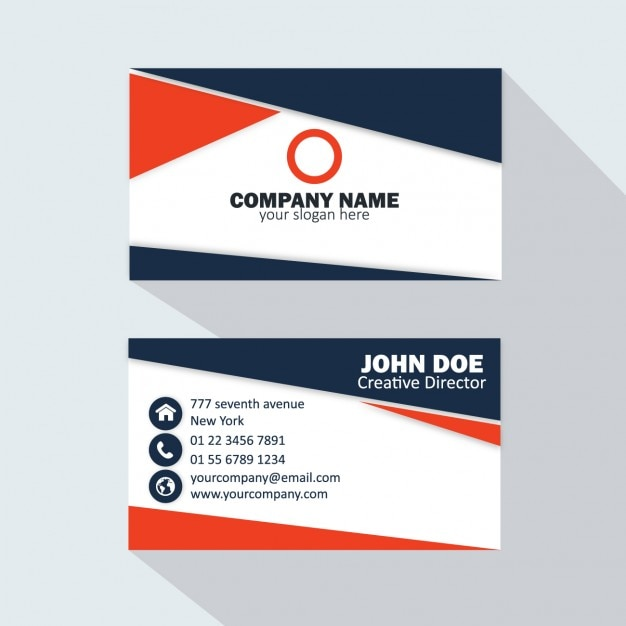 Dark blue and red business card vector free download dark blue and red business card free vector reheart Images