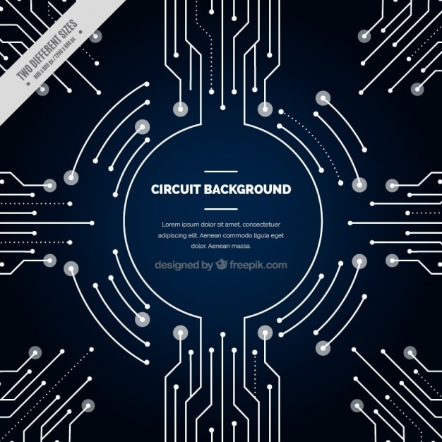 Dark blue background with circuit connections Vector | Free Download