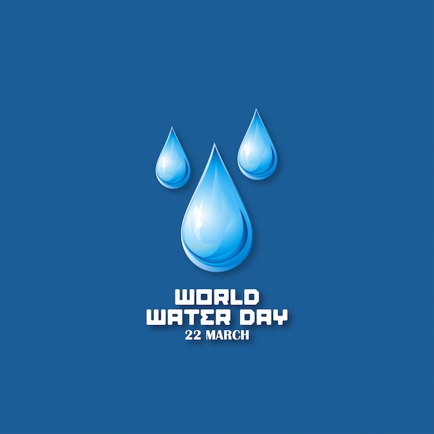 Dark blue background with drops for the water world day Free Vector