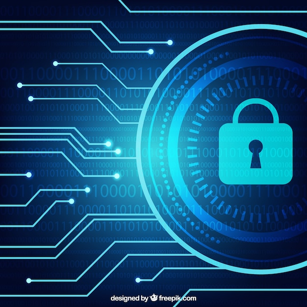 Dark blue background with security padlock Free Vector