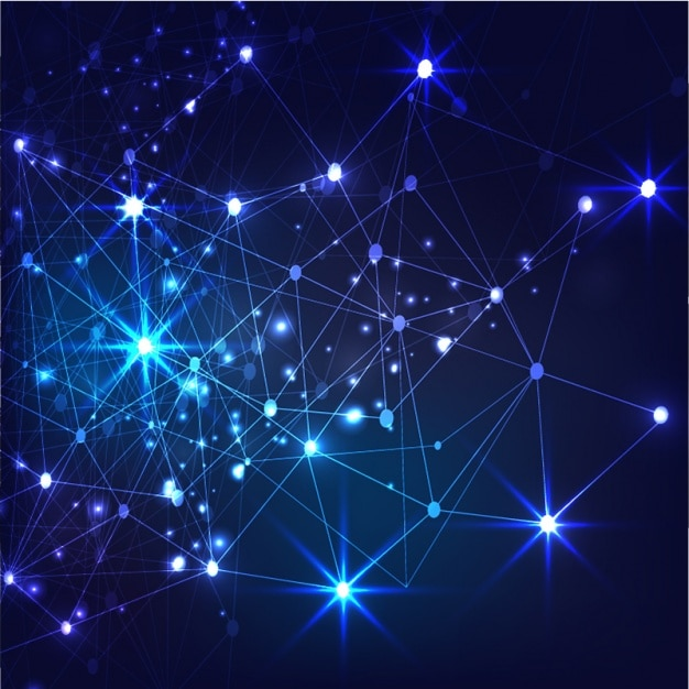Dark blue background with shiny connections Vector ...