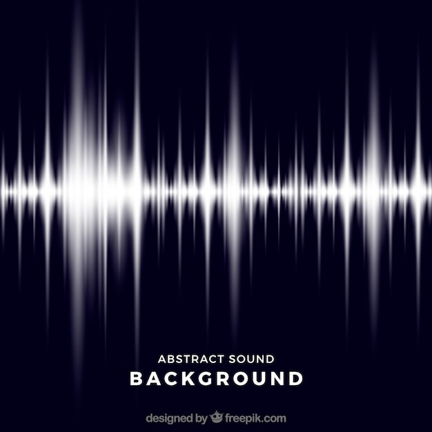 Dark blue background with shiny sound wave Free Vector