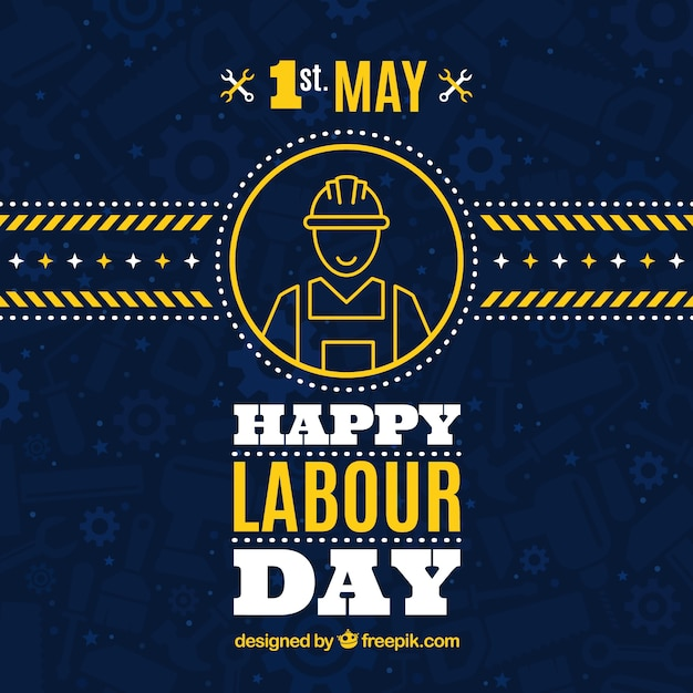 Dark blue background with yellow details for worker's day Free Vector