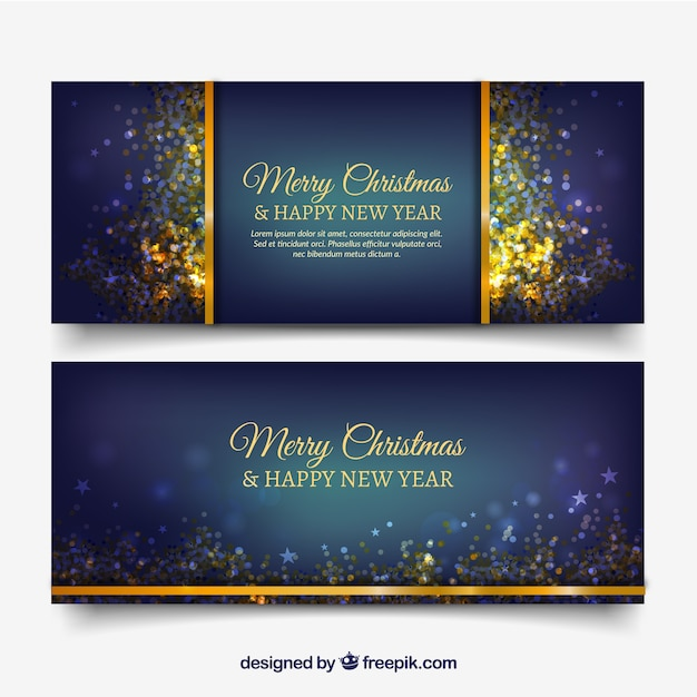 Dark blue banners with golden confetti Free Vector