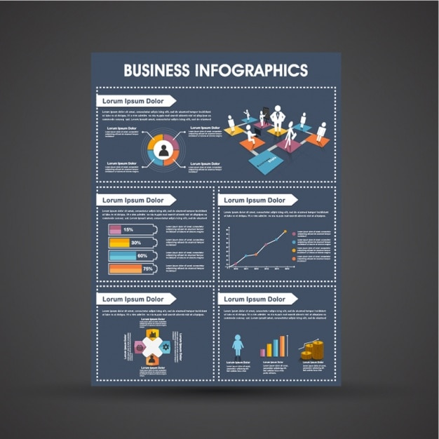 Dark blue business infographic template with colorful graphs Premium Vector