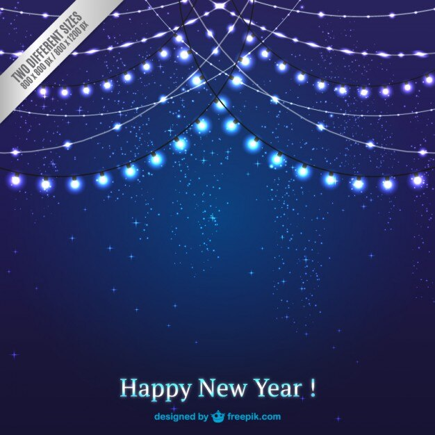 dark blue christmas lights background free vector