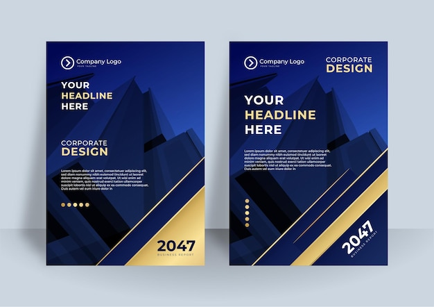 Dark blue corporate identity cover business vector design, flyer brochure advertising abstract backg