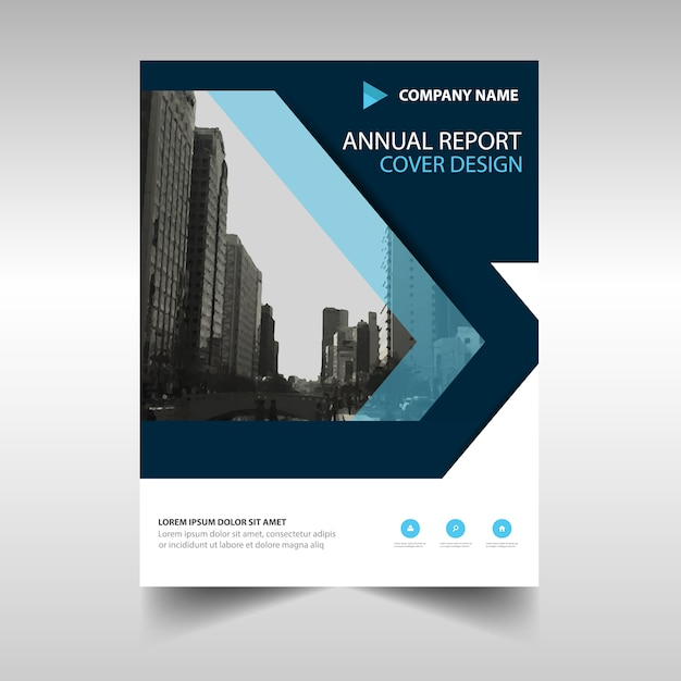 Book Report Cover Template : Dark blue creative annual report book cover template