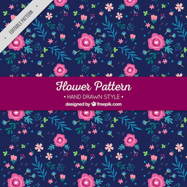 dark blue floral pattern with handdrawn flowers vector