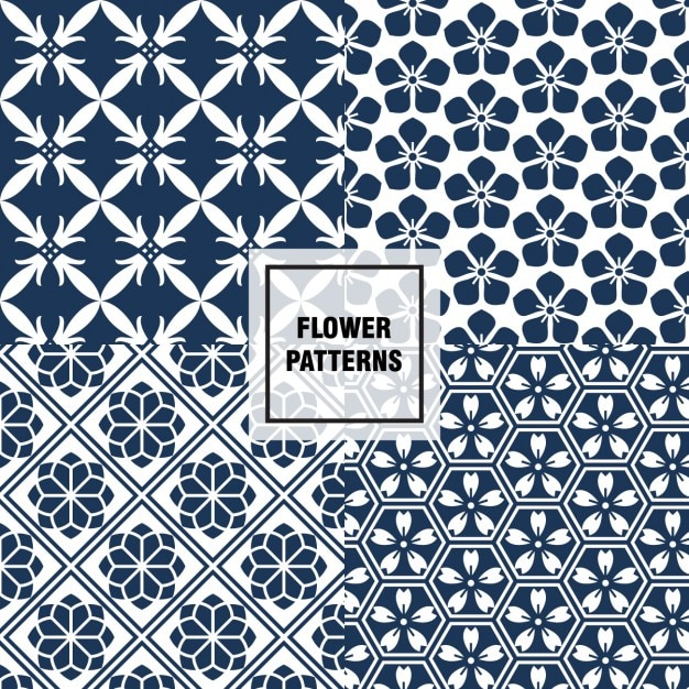 dark blue floral patterns vector free download
