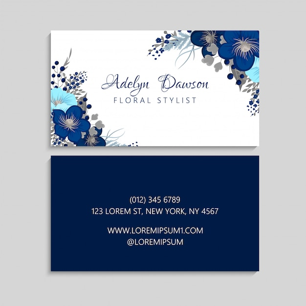 Dark blue flower business cards Free Vector