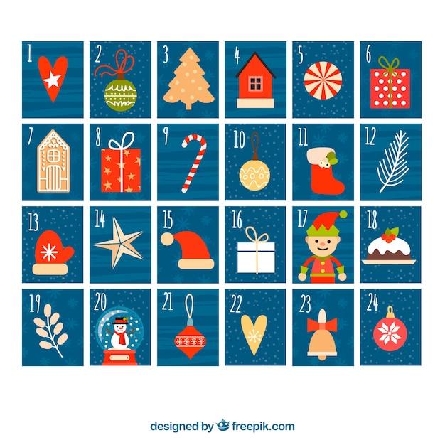 Dark blue hand drawn advent calendar