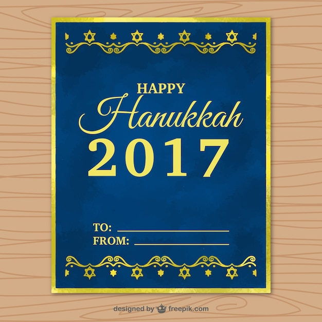 Dark blue hanukkah greeting card with golden\ frame