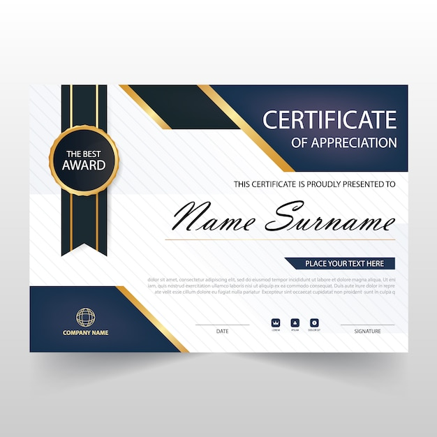 Gift certificate vectors photos and psd files free download dark blue horizontal certificate of appreciation yadclub Images
