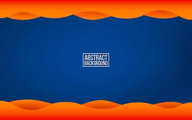 濃い青のレイヤーの背景。影とオレンジの波。 webまたはポスターの流行色の背景。モダンな抽象的な背景。図。 Premiumベクター