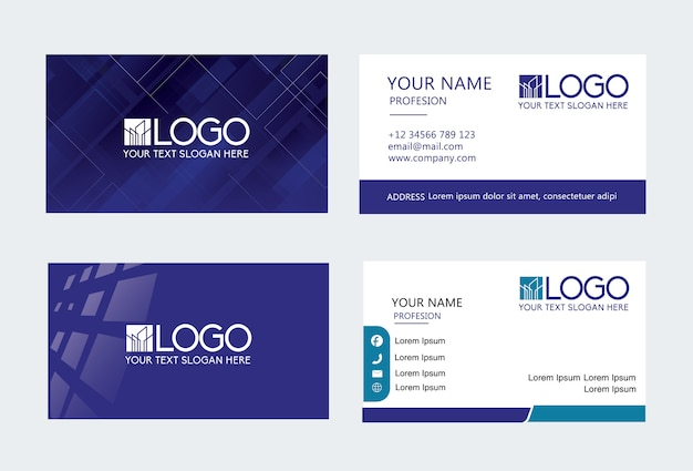 Dark blue modern creative business card and name card,horizontal simple clean template Premium Vector