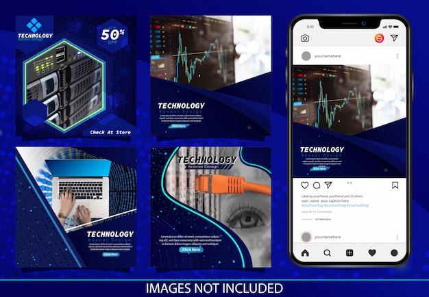 Dark blue modern technology insta post banner design vector Premium Vector
