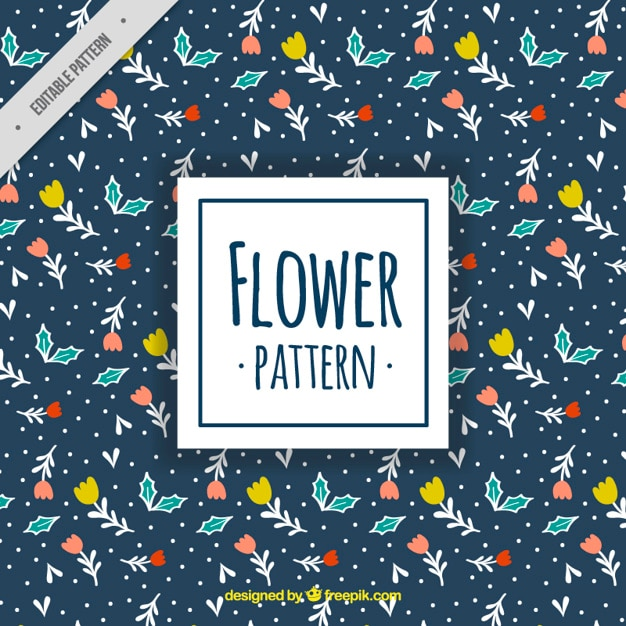 Dark blue pattern with decorative flowers and leaves