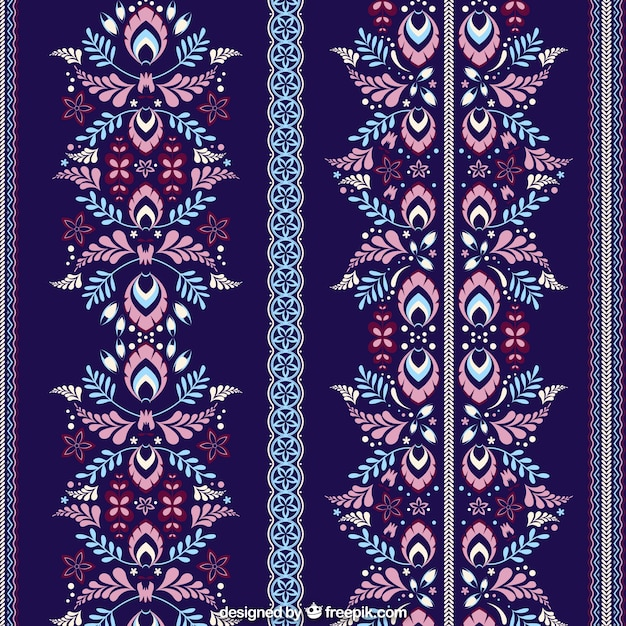 dark blue pattern with floral decoration vector free