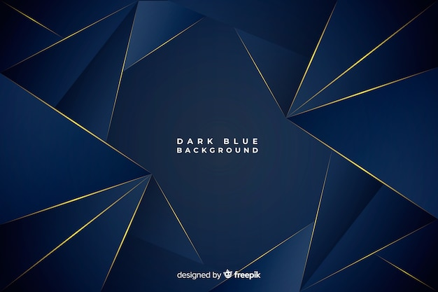Dark blue polygonal background with golden lines Free Vector