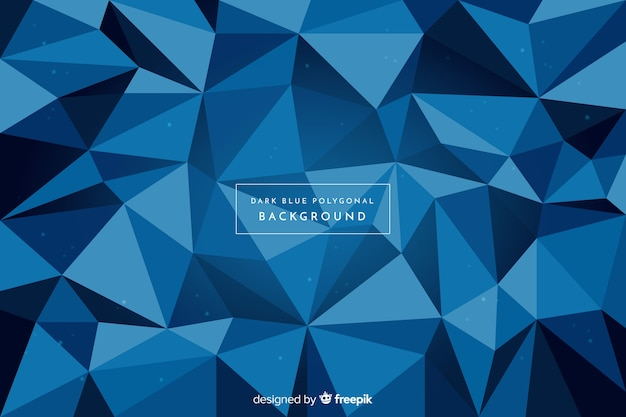 Dark blue polygonal background Free Vector