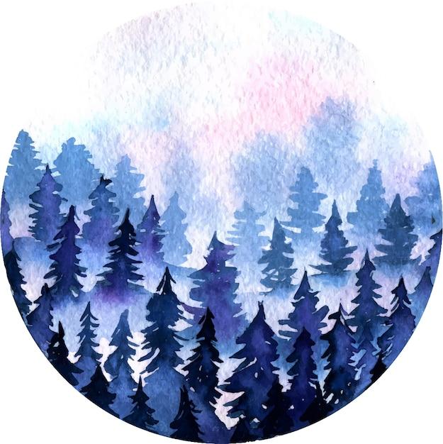 Синий ель снежный лес и розовые облака пейзаж акварель раунд иллюстрации Premium векторы
