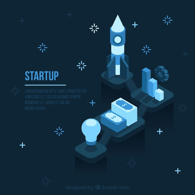Dark blue start up business concept Free Vector