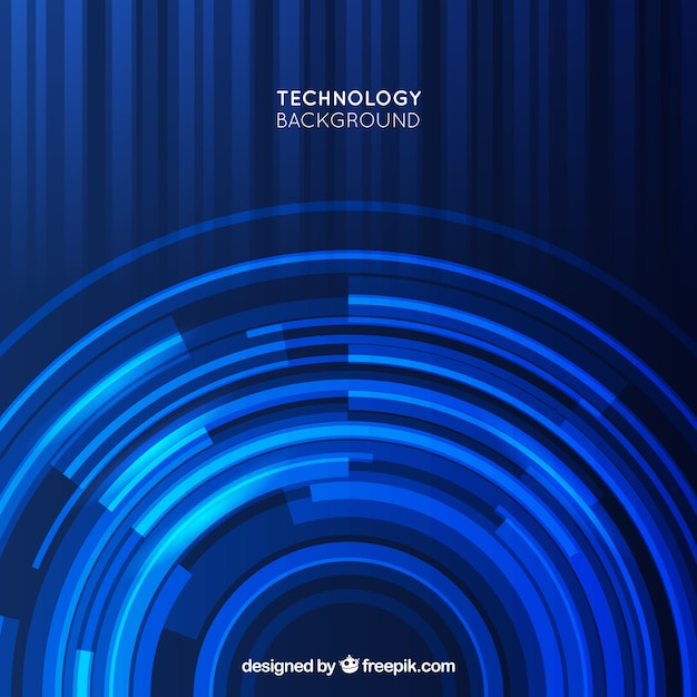 Dark blue technology background with circular\ forms