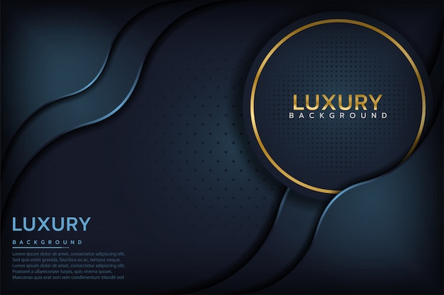Dark blue textured layer overlap background Premium Vector